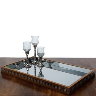 Woodart Brown Wood Mirrored Tray
