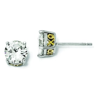 Versil Cheryl M White/Yellow Gold-plated Sterling Silver Cubic Zirconia 6.5-millimeter XO Stud Earrings