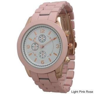 Olivia Pratt Women's Ceramic Style Boyfriend Bracelet Watch (Option: Light Pink Rose)