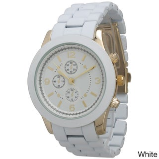 Olivia Pratt Women's Ceramic Style Boyfriend Bracelet Watch (Option: White)