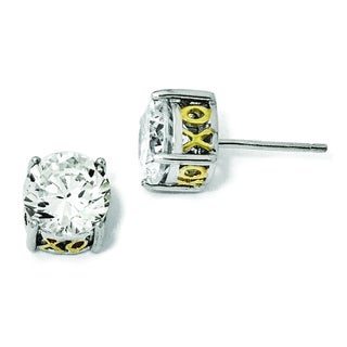 Versil Cheryl M White/Yellow Gold-plated Sterling Silver Cubic Zirconia 8-millimeter XO Stud Earrings
