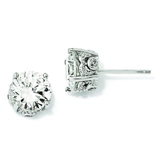 Versil Cheryl M Sterling Silver 8-millimeter Cubic Zirconia Stud Earrings