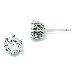 Versil Cheryl M White Sterling Silver Cubic Zirconia 6.5-millimeter Stud Earrings
