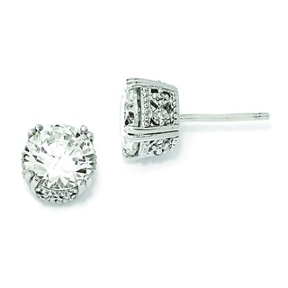Versil Cheryl M White Sterling Silver Cubic Zirconia 8-millimeter Stud Earrings