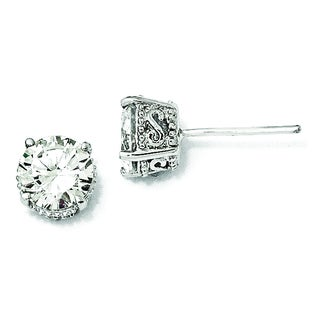 Versil Cheryl M White Sterling-silver Cubic Zirconia 6.5-millimeter Stud Earrings