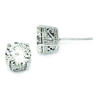 Versil Cheryl M Sterling Silver 8-millimeter CZ Stud Earrings