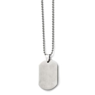 Versil Stainless Steel Polished 24-inch Dog Tag Pendant Necklace