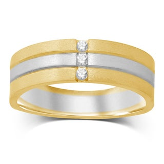 Unending Love Men's 14k Two-tone Gold 1/10ct TW 3-row IJ I1-I2 Diamond Band