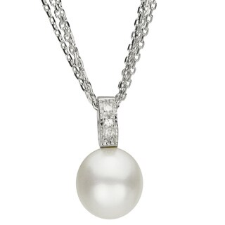 Pearls for You Sterling Silver White Freshwater Pearl and 9-9.5 mm I-J, SI2 Diamond Pendant 18-inch Necklace