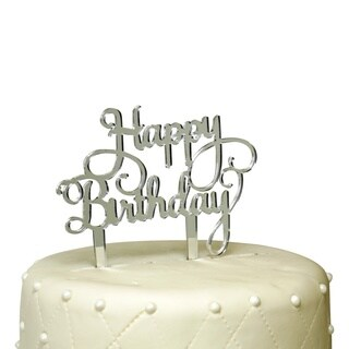 Silver Mirror Acrylic Happy Birthday Cake Topper