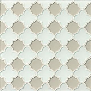 Bedrosians Flora White Linen/Mist Glass Mosaic Tile (11-sheet Box)
