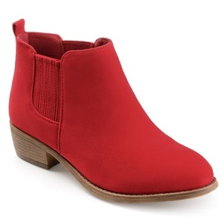 Link to Journee Collection Women's 'Ramsey' Faux Suede Stacked Heel Ankle Boots Similar Items in Women's Shoes