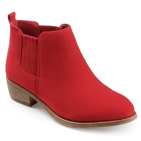 Womens Faux Suede Stacked Heel Ankle Boots