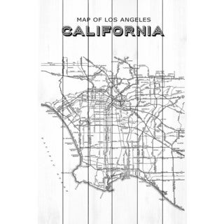 Marmont Hill 'LA Map' Painting Print on White Wood