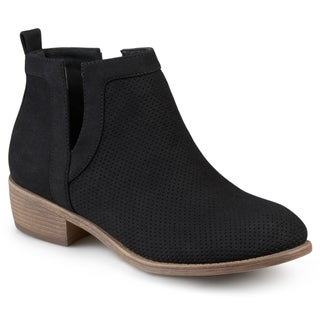 Journee Collection Womens Round Toe Pinhole Faux Suede Boots