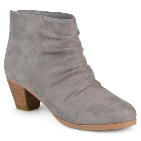Journee Collection Womens Jemma Slouch Faux Suede Ankle Boots