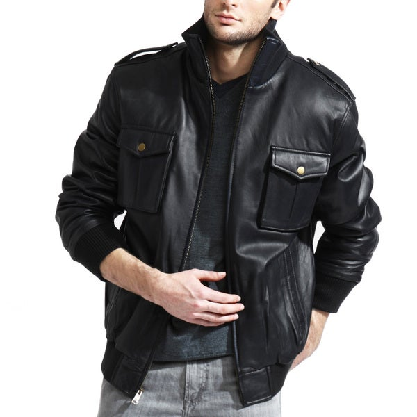 Men's Black Lambskin Military Bomber Jacket
