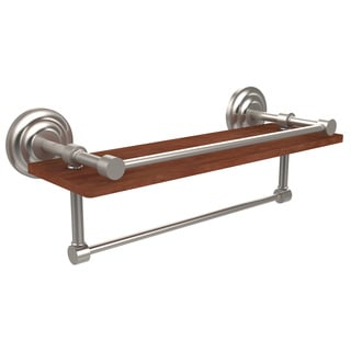 Allied Brass Que New Collection Clear Ipe Ironwood 16-inch Shelf with Gallery Rail and Towel Bar