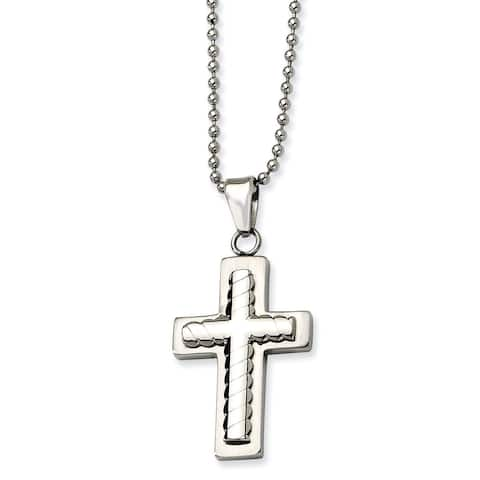 Chisel Men's Stainless Steel 24-inch Cross Pendant Necklace