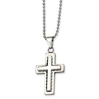 Versil Chisel Men's Stainless Steel 24-inch Cross Pendant Necklace
