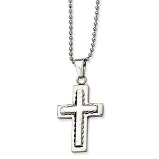 Versil Chisel Men's Stainless Steel 24-inch Cross Pendant Necklace
