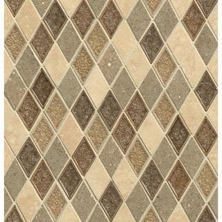 Bedrosians Random Interlocking Blend Blessed Tan Glass/Stone Tiles (Pack of 10 Sheets)