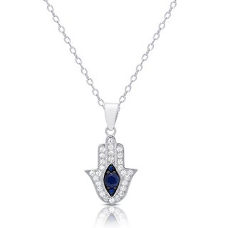 Dolce Giavonna Sterling Silver Simulated Sapphire and Cubic Zirconia Hamsa Hand Necklace