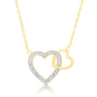 Finesque Sterling Silver Diamond Accent Interlocking Heart Necklace (I-J, I2-I3)