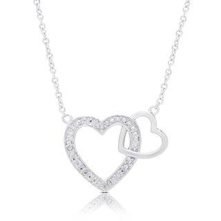 Finesque Sterling Silver Diamond Accent Interlocking Heart Necklace (3 options available)