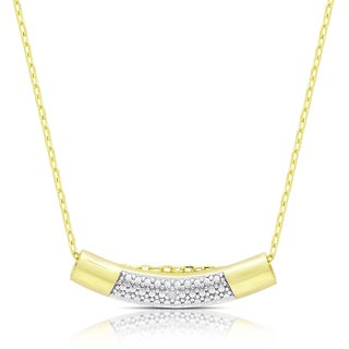 Finesque Gold Over Sterling Silver Diamond Accent Curved Bar Necklace