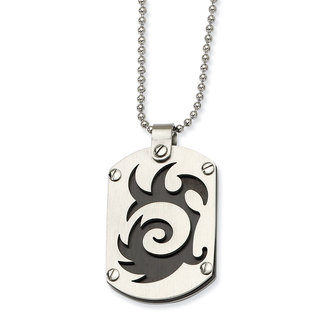 Versil Stainless Steel Black IP-plated Swirl Dog Tag Necklace