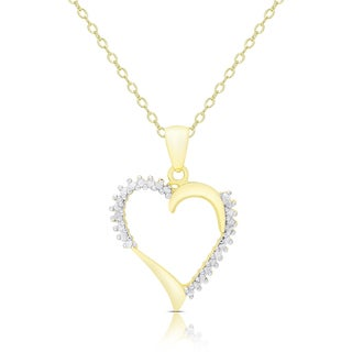 Finesque Gold Over Sterling Silver 1/8ct TDW Diamond Heart Necklace