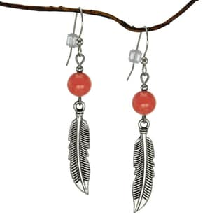 Jewelry by Dawn Coral Marble With Curved Pewter Feather Earrings