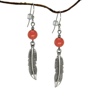 Handmade Jewelry by Dawn Coral Marble With Curved Pewter Feather Earrings (USA)