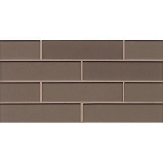 Bedrosians Mosaic On Ash Glass 8-inch x 16-inch Sheet Gloss Tiles (Pack of 10 Sheets)