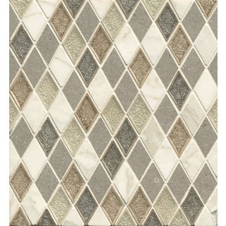 Rhomboid Blended Mosaic Destiny Glass and Stone Tile (Pack of 10 Sheets)
