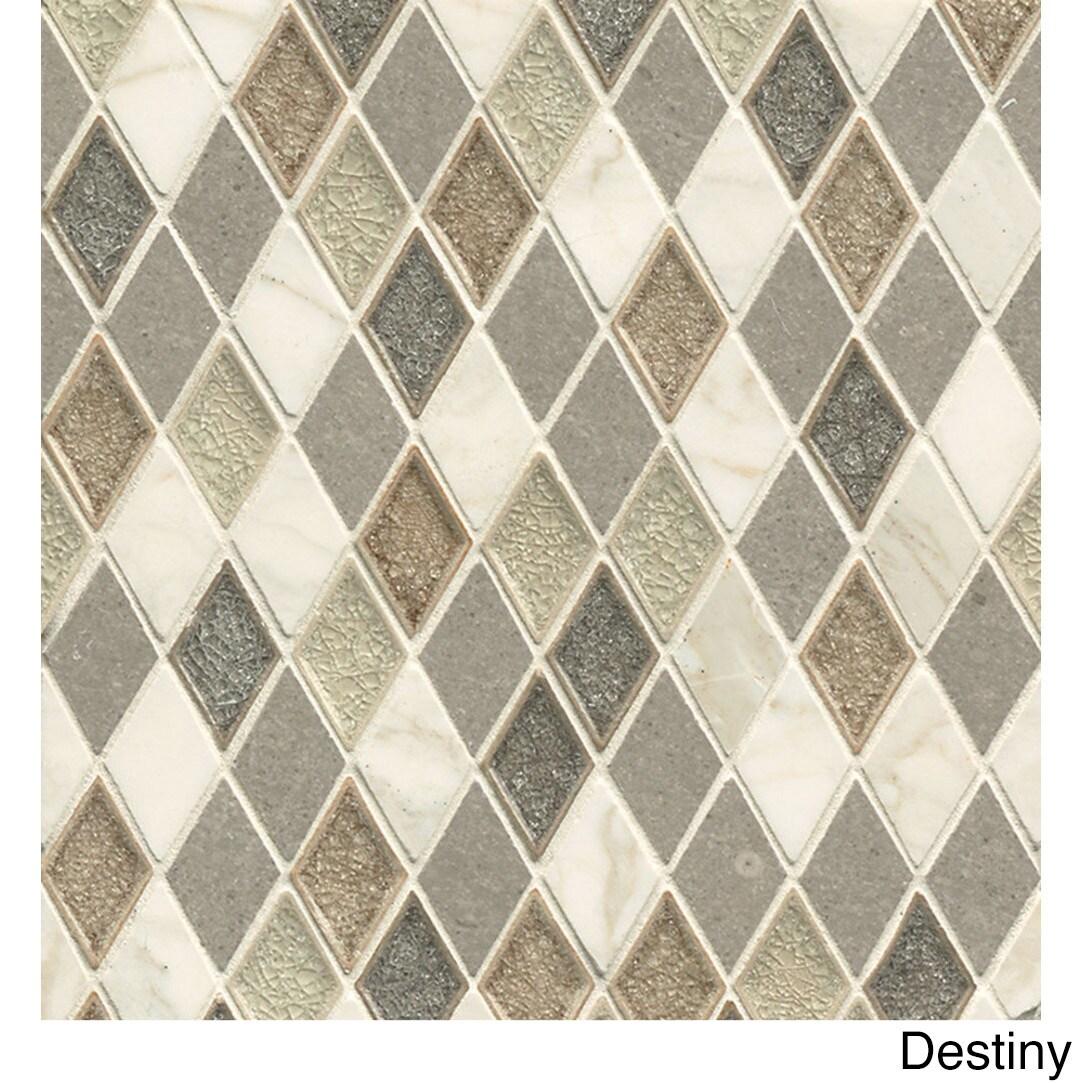 Bedrosians Rhomboid Blended Mosaic Destiny Glass and Ston...