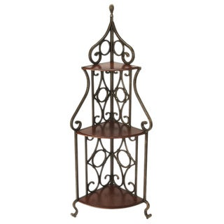 Butler Eovaldi Bronze Wood/Iron Corner Baker's Rack