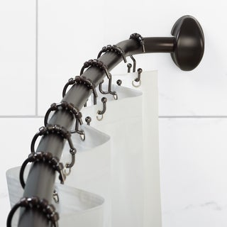 NeverRust Curved Shower Rod 14 Piece Set: Dark Bronze Curved Rod and White Shower Curtain Liner PLUS Double Roller Hooks