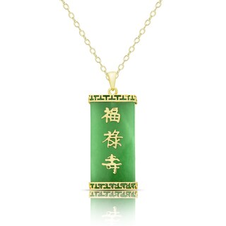 Dolce Giavonna Gold Over Sterling Silver Dyed Green Jade Chinese Symbol Necklace