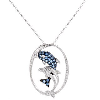 EFFY Final Call 14k White Gold 1/8ct TDW Diamond Natural Sapphire Dolphin Pendant (H-I,I1-I2)
