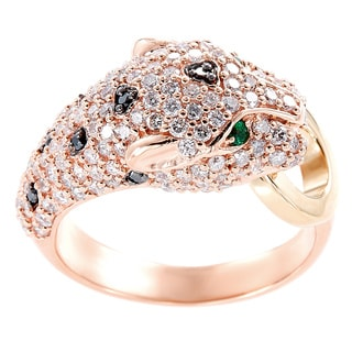 EFFY Final Call 14k Yellow/Rose Gold 1 1/3ct TDW Diamond and Black Diamond Natural Emerald Panther Ring