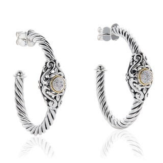 EFFY Final Call Sterling Silver/ 18k Yellow Gold 1/10ct TDW Diamond Filigree Earrings (H-I,I1-I2)
