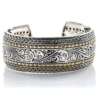 EFFY Final Call Sterling Silver/18k Yellow Gold Filigree Wide Bangle