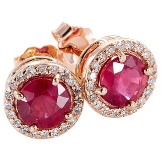 EFFY Final Call 14k Rose Gold 1/5ct TDW Diamond and Glass-filled Ruby Earrings (H-I,I1-I2)
