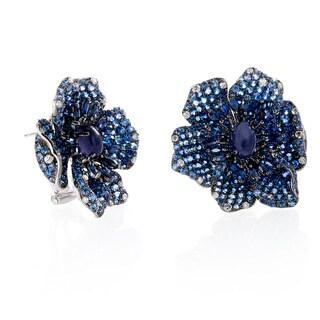 EFFY Final Call 14k White Gold Natural Sapphire and 1/2ct TDW Diamond Flower Earrings (H-I,I1-I2)