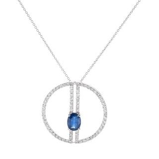 EFFY Final Call 14k White Gold 1ct TDW Diamond and Natural Sapphire Circle Pendant (H-I,I1-I2)