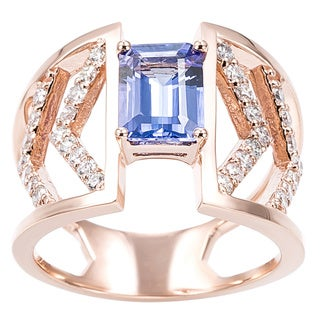 EFFY Final Call 14k Rose Gold Tanzanite and 1/2ct TDW Diamond Ring (H-I,I1-I2)