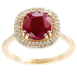 EFFY Final Call 14k Yellow Gold Glass-filled Ruby and 1/3ct TDW Diamond Ring (H-I,I1-I2)