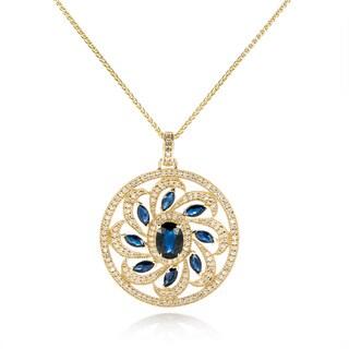 EFFY Final Call 14k Yellow Gold 5/8ct TDW Diamond Natural Sapphire Pendant (H-I, I1-I2)